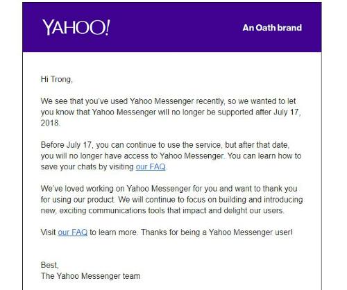 Thư tạm biệt của Yahoo Messenger gửi người dùng.
