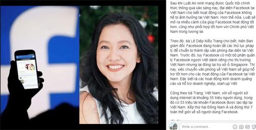 Một trong những thông tin giả về bà Lê Diệp Kiều Trang.