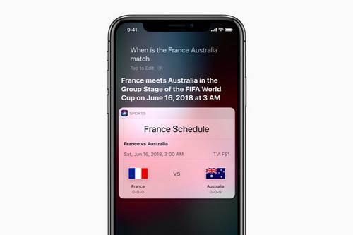 Người dùng iPhone có thể cập nhật thông tin trận đấu World Cup 2018 nhanh nhất bằng Siri.