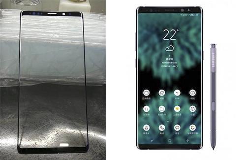 Kính bảo vệ được cho là củaGalaxy Note9 (bên trái) và ảnh dựng (bên phải).