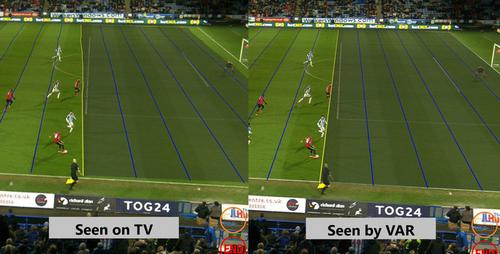 Tình huống xác định đối với góc quay thông thường (bên trái) có thể thấy cầu thủ đã việt vị, nhưng nếu sử dụng hệ thống camera của VAR (bên phải) thì không.