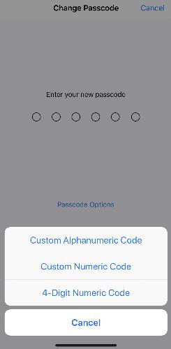 Người dùng có thể thay đổi mật khẩu Passcode 4 hoặc 6 chữ số dạng mật khẩu có độ dài và cấu tạo bất kỳ.