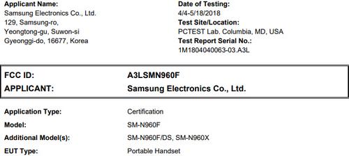 Thông tin về smartphone SM-N960F trên FCC.
