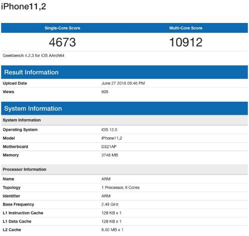 Kết quả thử nghiệm được cho là của iPhone X Plus với cấu hình mạnh hơn iPhone X hiện tại.
