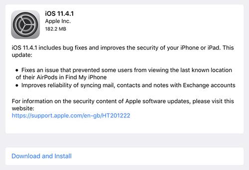 Thông báo về cập nhật iOS 11.4.1.