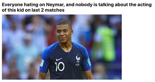 Một tài khoản 9gag khác cho rằng mọi người nên nói về khả năng diễn xuất của Mbappe nhiều hơn thay vì chỉ trích mỗi Neymar.