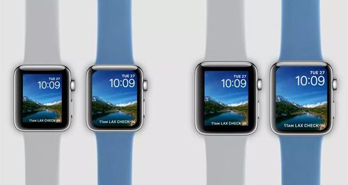 Ảnh minh họa Apple Watch Series 4 có màn hình rộng hơn Series 3 (dây màu trắng xám)