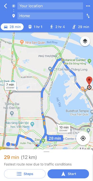 Tính năng xem bản đồ giao thông thời gian thực xuất hiện trở lại trên Google Maps của iOS nhưng chế độ dẫn đường xe máy chưa có như trên Android.