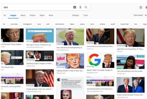 Hiện thị kết quả trên Google khi tìm kiếm ảnh minh họa cho từ idiot.