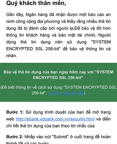 Email xuất phát từ địa chỉebank@ebank.vpbank.com.vn.