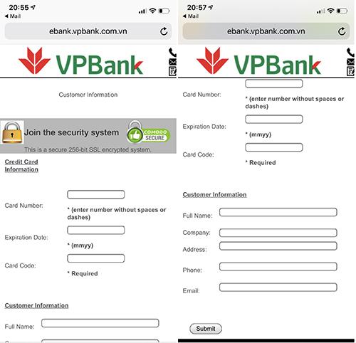 Giao diện trang lừa đảo có địa chỉ ebank.vpbank.com.vn, yêu cầu nhập nhiều thông tin nhạy cảm.