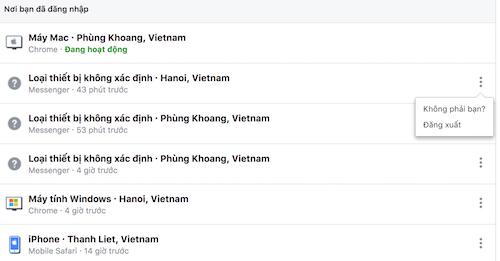 Danh sách các thiết bị và địa điểm người dùng đã đăng nhập tài khoản Facebook.