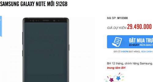 Giá đặt trước của Galaxy Note9 bản cao cấp RAM 8GB bộ nhớ 512GB cao hơn 6 triệu đồng so với bản tiêu chuẩn.