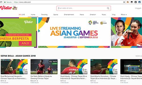 Vidio thông báo livestream Asiad 2018 và một số người dùng Việt đã theo dõi được vài trận đầu.