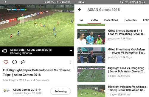 Vidio.com có video phát lại và highlight Asiad 2018.