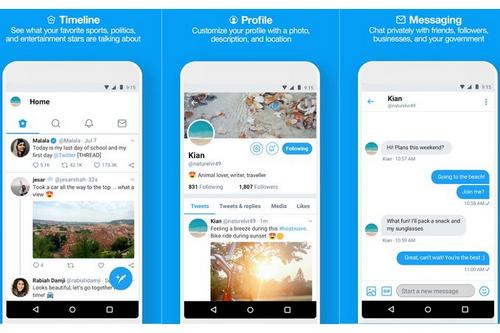 Phiên bản Lite của Twitter có giao diện đơn giản.