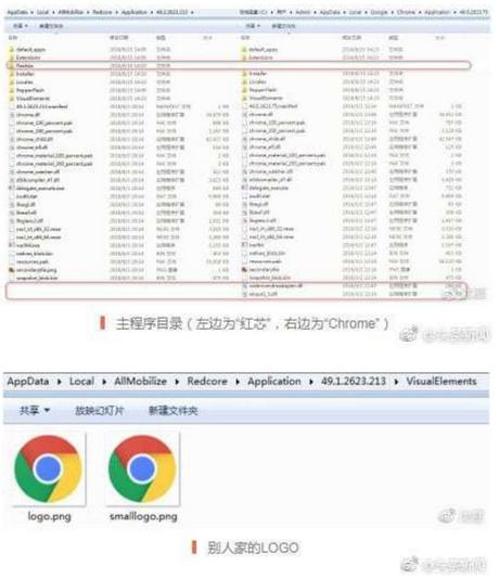 Mã nguồn của Redcode có nhiều logo và tập tin của Chrome.