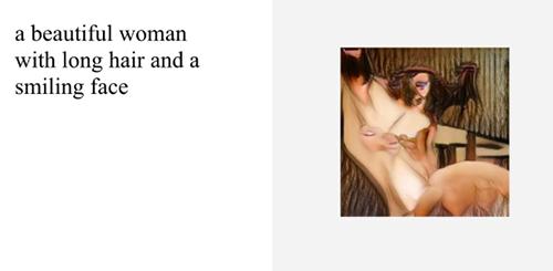 Hình ảnh do AI tạo ra khi nhập cụm từ một người phụ nữ đẹp với tóc dài và khuôn mặt mỉm cười.