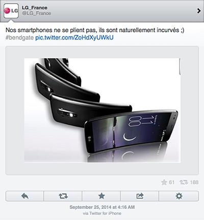 Trước lùm xùm iPhone 6 Plus dễ bị uốn cong, LG đã nhanh chóng bắt kịp xu hướng để quảng bá cho chiếc điện thoại màn hình cong G Flex của mình. Sẽ chẳng có gì để nói nếu như tweet này được gửi từ một chiếc điện thoại Android nhưng thực tế nó lại xuất phát từ một chiếc iPhone.