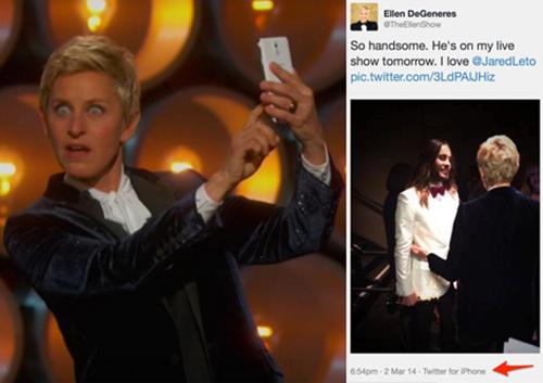 Samsung được cho là đã chi hàng chục triệu USD để chiếc Galaxy Note 3 xuất hiện trên tay ngôi sao truyền hình Ellen DeGeneres tại Oscar 2014. Điều bất ngờ là đằng sau sân khấu, người dẫn chương trình nổi tiếng này lại dùng iPhone để chụp ảnh và Twitter.