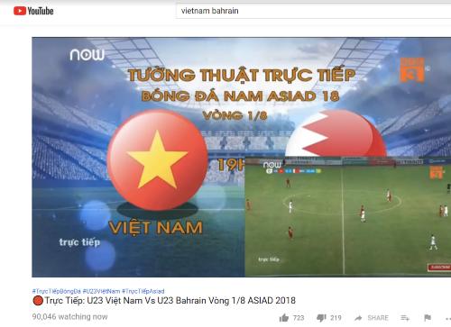 Một kênh YouTube phát lậu trận đấu Việt Nam - Bahrain và thu hút tới hơn 90.000 người xem cùng lúc.