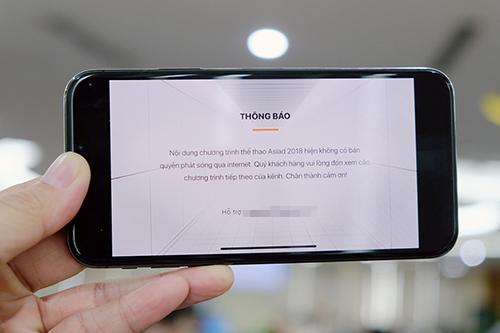 Một ứng dụng thông báo không hỗ trợ phát sóng Asiad trên Internet.