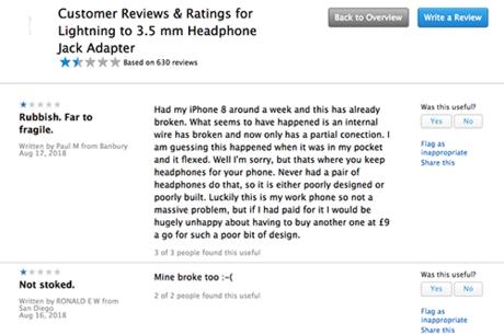 Nhiều người phàn nàn về cổng chuyển Lightning - 3,5 mm trên trang Apple.