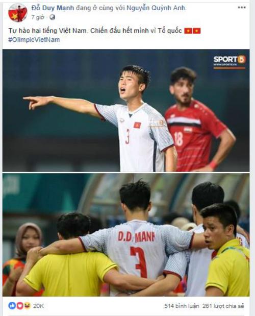 Trang cá nhân cầu thủ Olympic ngập lời chúc mừng chiến thắng - 6