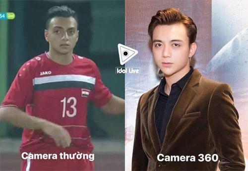 Cầu thủ của Syria (bên trái) và ca sĩ Soobin Hoàng Sơn.