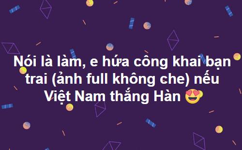 Bạn trai sẽ không còn bị dán sticker vào mặt khi Việt Nam thắng.