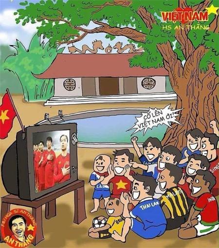 Cả Đông Nam Á cổ vũ cho Việt Nam. Ảnh: Facebook họa sĩ An Thắng