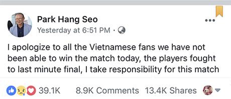 Thông điệp xuất hiện trên trang fanpage Park Hang Seo thu hút hàng chục nghìn lượt tương tác.