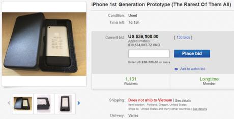 Đã có người trả hơn 36.000 USD cho nguyên mẫu iPhone trên eBay.