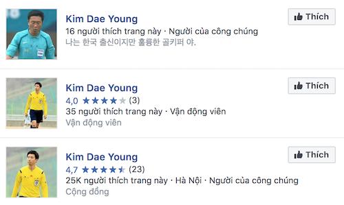 Hàng loạt tài khoản có tên Kim Dae-yong xuất hiện trên Facebook.