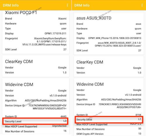 Thông tin DRM của Xiaomi Poco F1 (trái) và Asus ZenFone Max Pro M1.