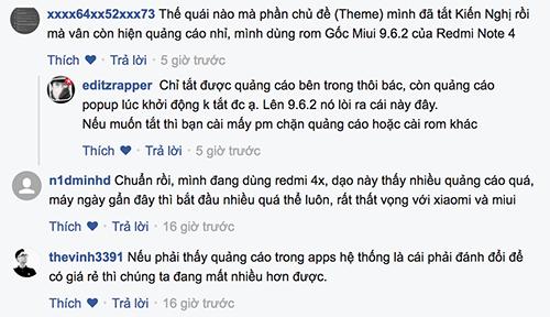 Người dùng Việt trên một diễn đàn công nghệ thảo luận về vấn đề quảng cáo của điện thoại Xiaomi.