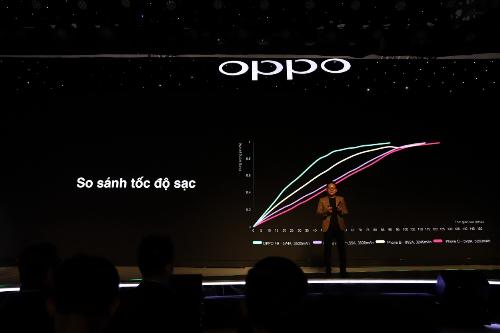 Đại diện Oppo ra mắt công nghệ sạc nhanh VOOC mới đây.