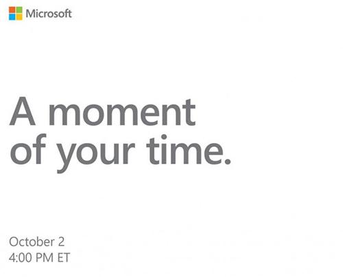 Thư mời sự kiện ngày 2/10 của Microsoft.