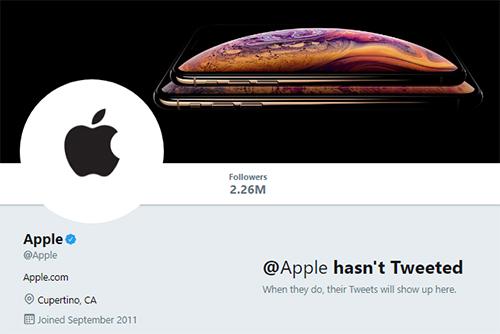 Trang Twitter không có chia sẻ gì của Apple. Ảnh chụp màn hình