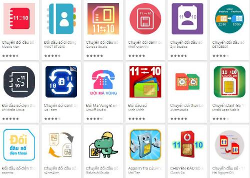 Hàng chục ứng dụng đổi đầu số đã được đưa lên chợ ứng dụng thời gian gần đây.
