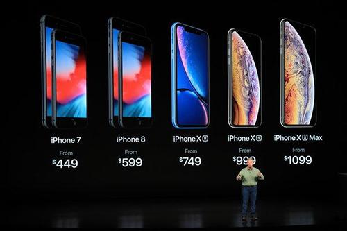 Giá bán các mẫu iPhone của Apple. Ảnh: NYP.