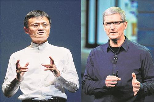 Jack Ma (bên trái) và Tim Cook (bên phải) có phản ứng khác nhau về chiến tranh thương mại Mỹ - Trung.