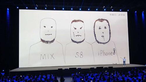Bức ảnh so sánh thú vị của Xiaomi khi giới thiệu Mix 2s.