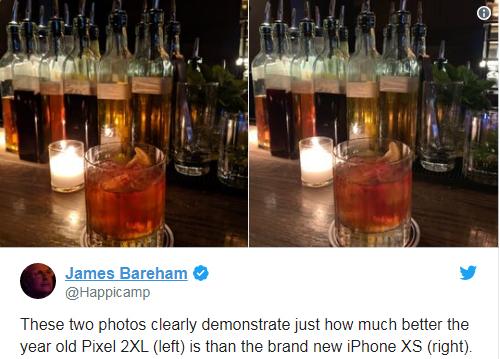 Nhiếp ảnh gia Bareham của Verge cho hay chiếc điện thoại đã ra đời từ một năm trước Pixel 2 XL (trái) vẫn chụp tốt hơn iPhone Xs (phải) vừa được bán.