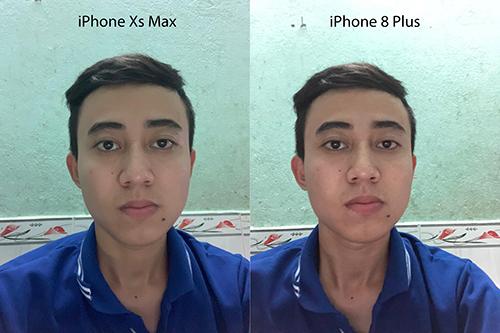 So sánh ảnh chụp bằng camera trước từ hai điện thoại của Apple, cùng iOS 12. Ảnh: Công Hậu.