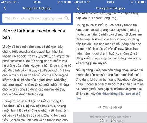 Cảnh báo của Facebook gửi đến cho người dùng Việt Nam.