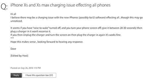 Người dùng thảo luận về lỗi sạc pin iPhone Xs và Xs Max trên trang hỗ trợ của Apple.