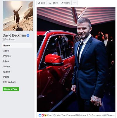Bức ảnh của David Beckham thu hút trên 80 nghìn like và chia sẻ.