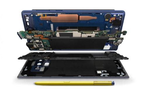 Hệ thống tản nhiệt kích thước khủng trên Galaxy Note9 (phần màu cam) giúp máy có khả năng làm mát tốt nhất hiện nay