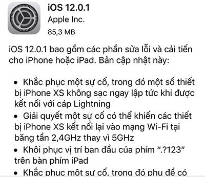 Thông tin về bản cập nhật iOS 12.0.1.